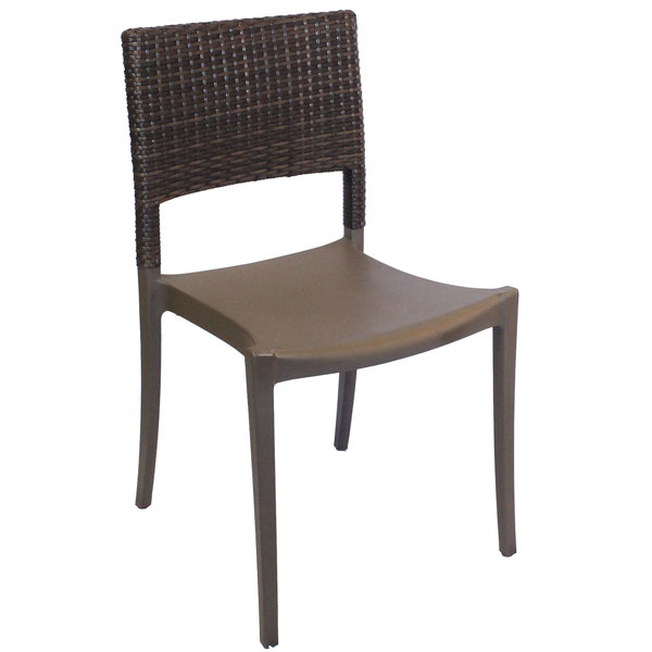 Case of 16 Grosfillex US925037 / US985037 Java Bronze Resin Stackable Sidechair with Wicker Back