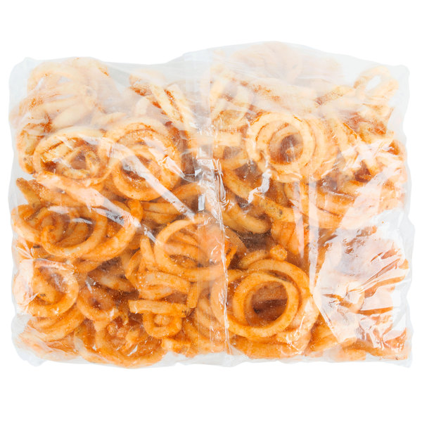 McCain Foods Redstone Canyon 4 lb  Bag of Skin-On Spiral Fries - 6/Case