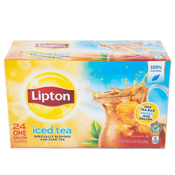 Lipton 24-Count Box 1 Gallon Unsweetened Iced Tea Filter Bags - 4/Case