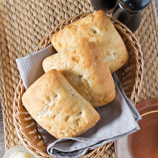 "Signature Breads 4 1/2"" Rustic Italian Focaccia Square Roll - 72/Case Main Image 5"