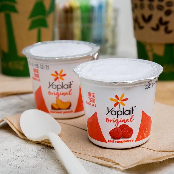 Yoplait 4 oz. Red Raspberry and Harvest Peach Yogurt - 48/Case