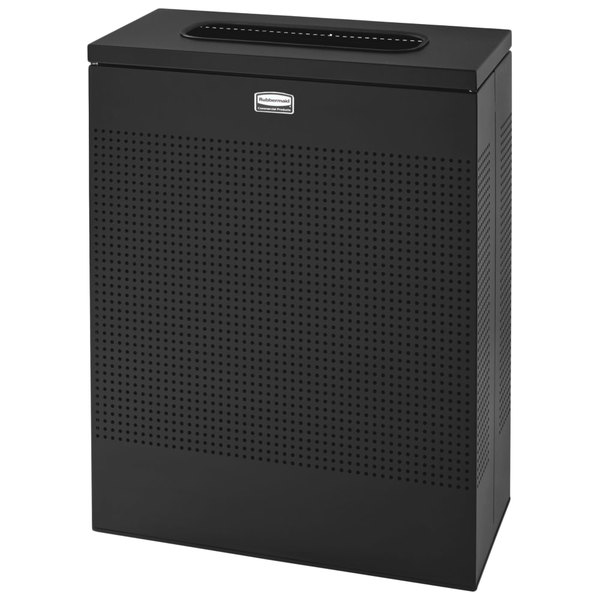 Rubbermaid FGSR18ERBTBK Silhouettes Textured Black Steel Designer Rectangular Waste Receptacle - 40 Gallon