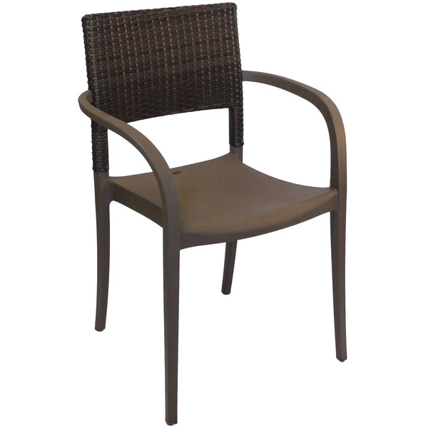 Pack of 4 Grosfillex US926037 / US986037 Java Bronze Resin Stackable Armchair with Wicker Back