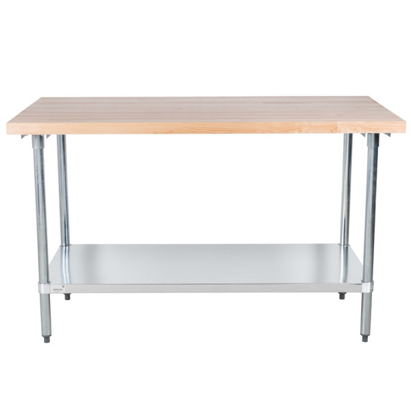 "Advance Tabco H2G-305 Wood Top Work Table with Galvanized Base and Undershelf - 30"" x 60"""