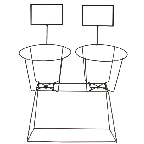 black wire stand with two basket frames