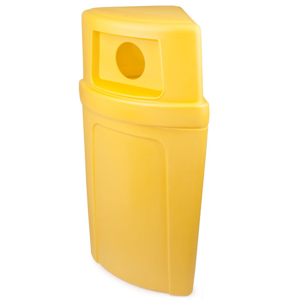 Continental 8325-3 Corner'Round 21 Gallon Yellow Corner Recycling Container with Dome Lid and Hole
