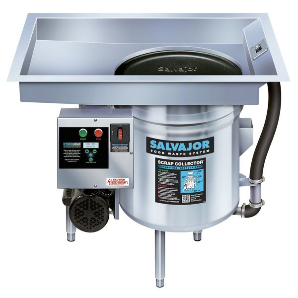 Salvajor P914 Food Scrapper / Waste Collector with Pot and Pan Basin - 3/4 hp, 115V Main Image 1