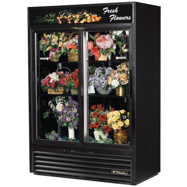 True GDM-47FC-LD Black Two Door Glass Floral Case - 47 Cu. Ft.