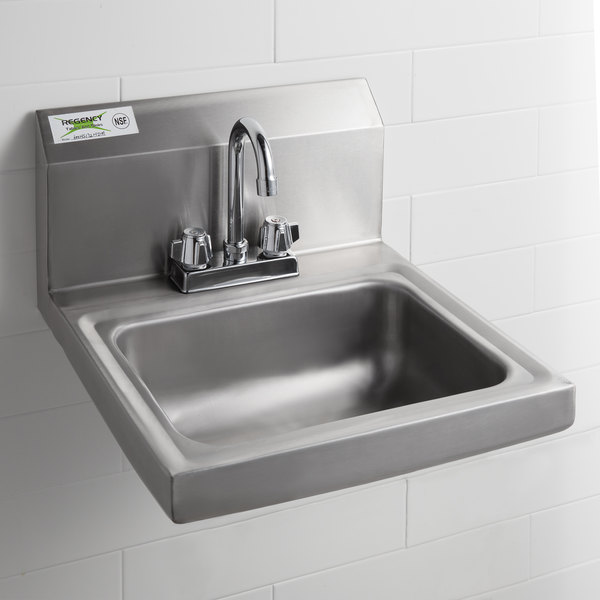 Regency 17 X Wall Mounted Hand Sink With 4 Centers For Deck Faucet