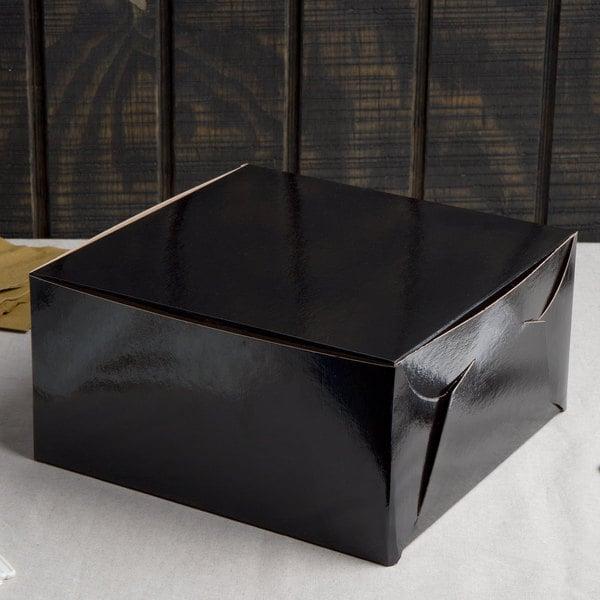 "Enjay B-BLK-10105 10"" x 10"" x 5"" Black Cake / Bakery Box - 10/Pack"