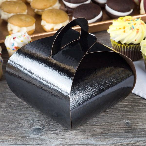 "Enjay B-TULIPSINGLEBLACK 4"" x 4"" x 3 3/4"" Black Single Cupcake Tulip Box with 1 Compartment Insert - 10/Pack"