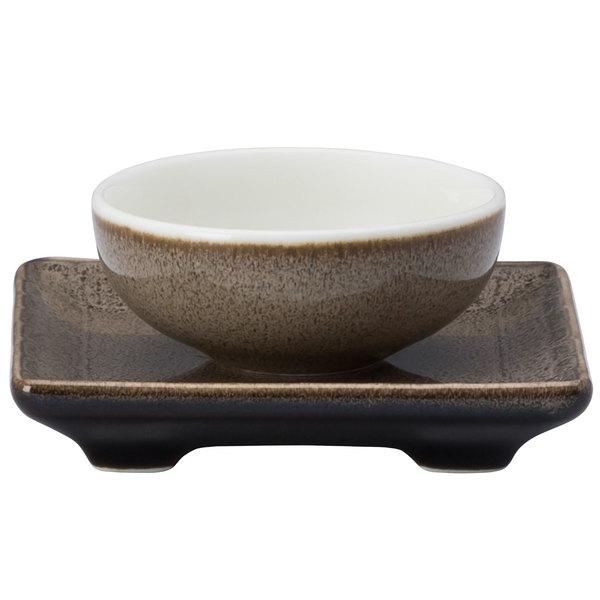 "Oneida L6753059503 Rustic 3"" Chestnut Porcelain Chinese Rectangular Saucer - 72/Case"
