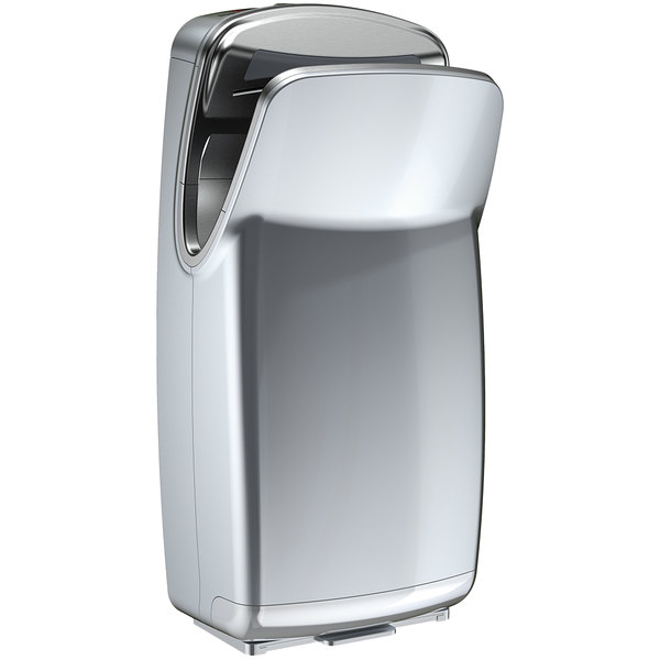World Dryer V-649A VMax V2 Silver High Impact ABS High-Speed Vertical Hand Dryer - 110-120V, 1000W Main Image 1