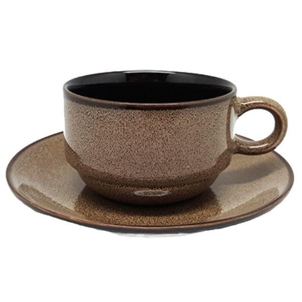 "Oneida L6753059502 Rustic 6"" Chestnut Porcelain Coffee Coupe Saucer - 24/Case"