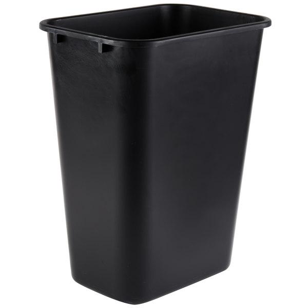 Continental 4114BK 41.25 Qt. / 10 Gallon Black Rectangular Wastebasket / Trash Can