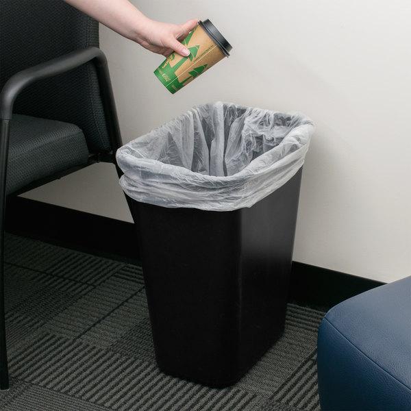 Continental 4114BK 41.25 Qt. / 10 Gallon Black Rectangular Wastebasket / Trash Can Main Image 2