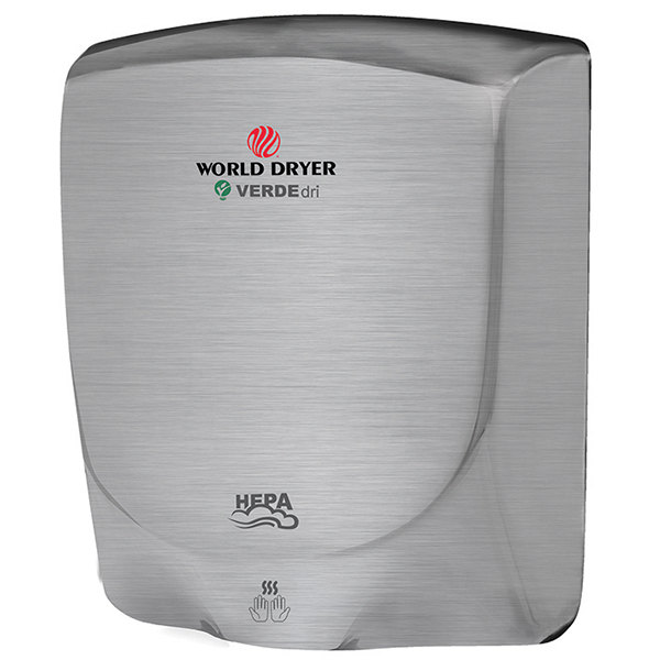 World Dryer Q-973A VERDEdri Brushed Stainless Steel Hand Dryer - 110-120V/208V/220-240V, 950W Main Image 1