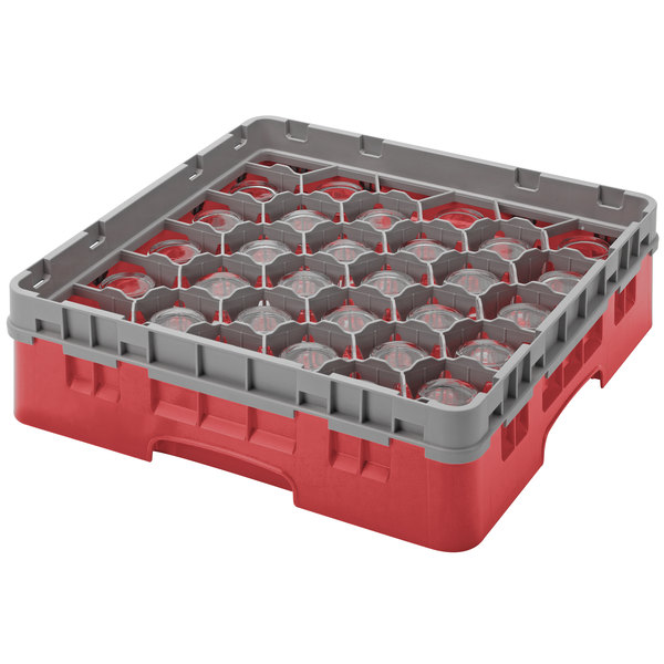 "Cambro 30S800163 Red Camrack Customizable 30 Compartment 8 1/2"" Glass Rack Main Image 1"