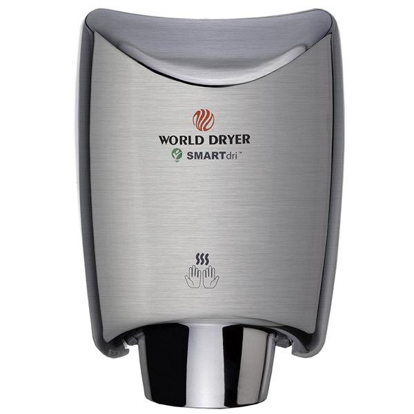 World Dryer K-973A2 SMARTdri Brushed Stainless Steel High-Speed Hand Dryer - 110-120V, 1200W Main Image 1