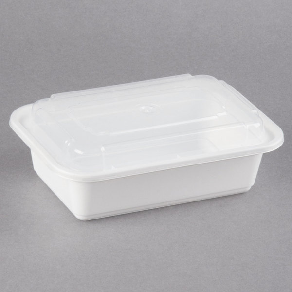 Newspring NC-838 24 oz. White 5 inch x 7 1/4 inch x 2 inch VERSAtainer Rectangular Microwavable Container with Lid - 150/Case