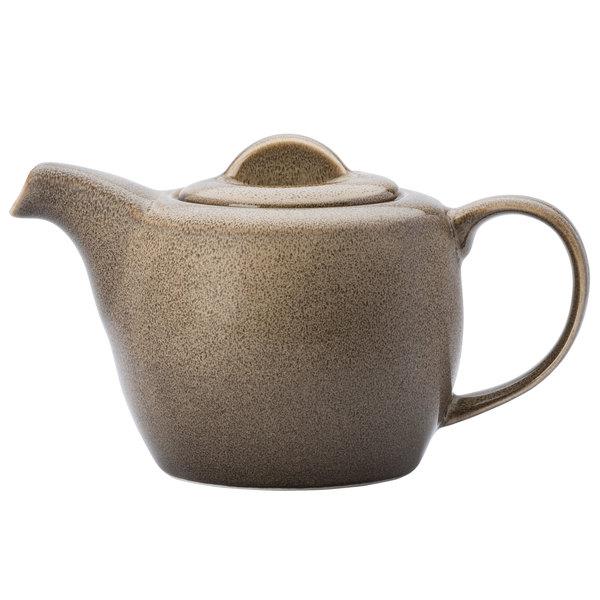 Oneida L6753059860 Rustic 14 oz. Chestnut Porcelain Teapot - 12/Case Main Image 1