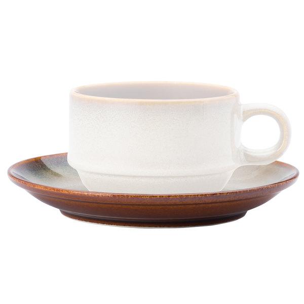 """Oneida L6753066500 Rustic 6"""" Sama Porcelain Teacup Coupe Saucer - 24/Case"""