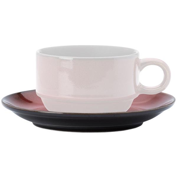"""Oneida L6753074502 Rustic 6"""" Crimson Porcelain Coffee Coupe Saucer - 24/Case"""