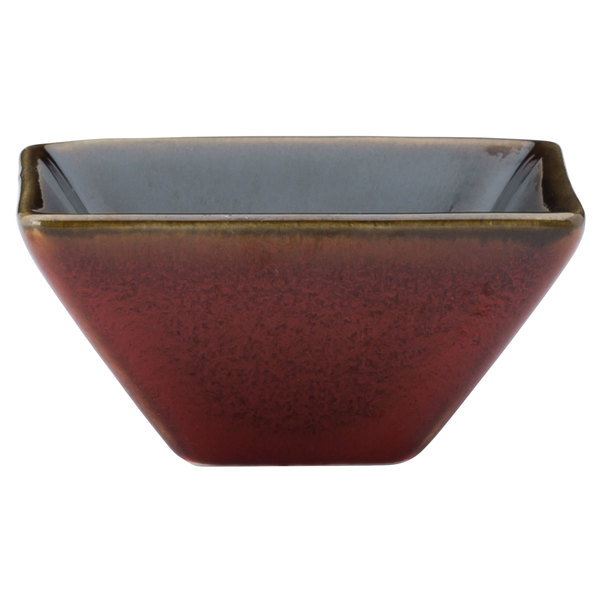 Oneida L6753074940 Rustic 2 oz. Crimson Porcelain Square / Triangular Dish - 72/Case Main Image 1