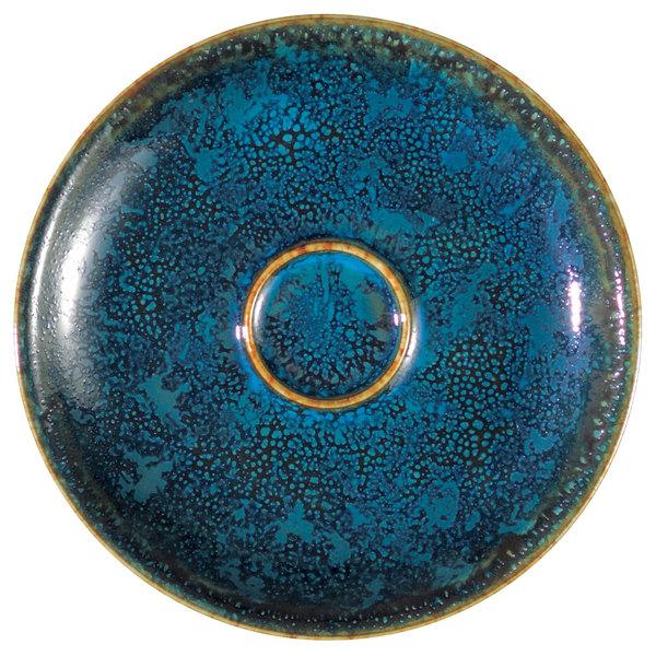 """Oneida F1468994505 Studio Pottery Blue Moss 4 7/8"""" Porcelain Espresso Saucer - 24/Case"""