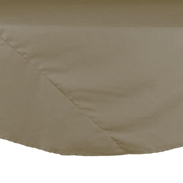 "64"" Beige Round Hemmed Polyspun Cloth Table Cover"