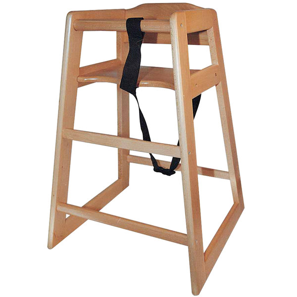 Stacking Unassembled Restaurant Hardwood High Chair with Natural Finish