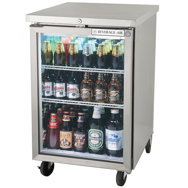 """Beverage-Air BB24HC-1-G-S 24"""" Stainless Steel Back Bar Refrigerator with 1 Glass Door - 115V"""