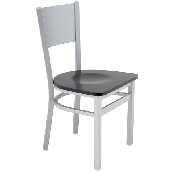 BFM Seating 2140CBLW-SM Axel Silver Mist Steel Side Chair with Black Wood Seat Main Image 1
