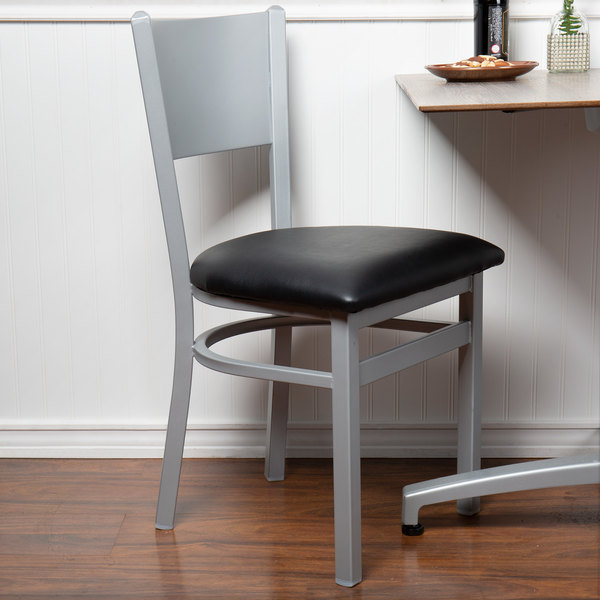 BFM Seating 2140CBLV-SM Axel Silver Mist Steel Side Chair with Black Padded Vinyl Seat Main Image 4
