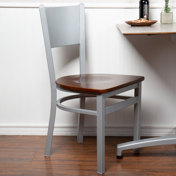 BFM Seating 2140CWAW-SM Axel Silver Mist Steel Side Chair with Walnut Wood Seat Main Image 4