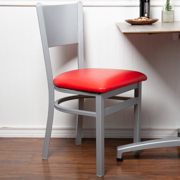 BFM Seating 2140CRDV-SM Axel Silver Mist Steel Side Chair with Red Padded Vinyl Seat Main Image 4