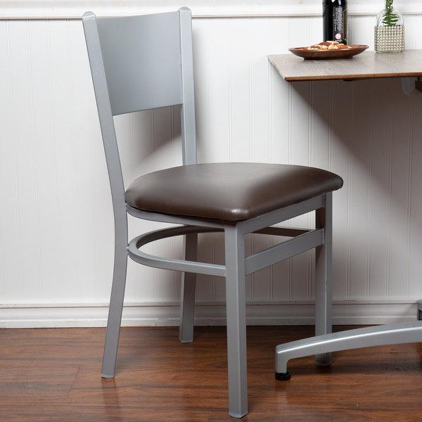 BFM Seating 2140CDBV-SM Axel Silver Mist Steel Side Chair with Dark Brown Padded Vinyl Seat Main Image 4