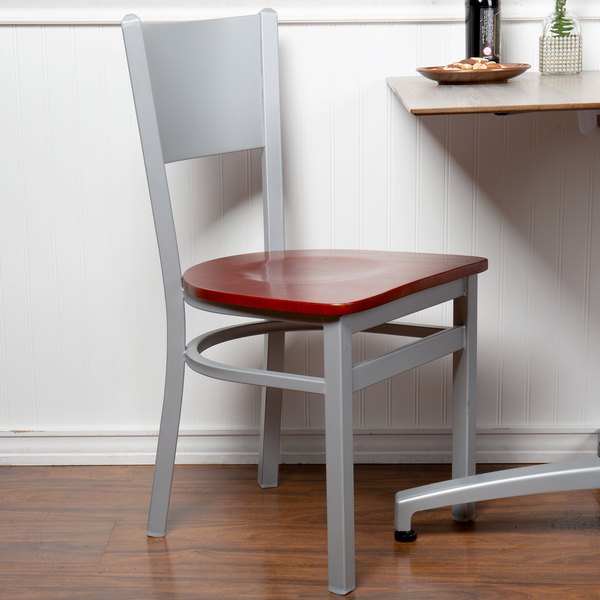 BFM Seating 2140CMHW-SM Axel Silver Mist Steel Side Chair with Mahogany Wood Seat Main Image 4