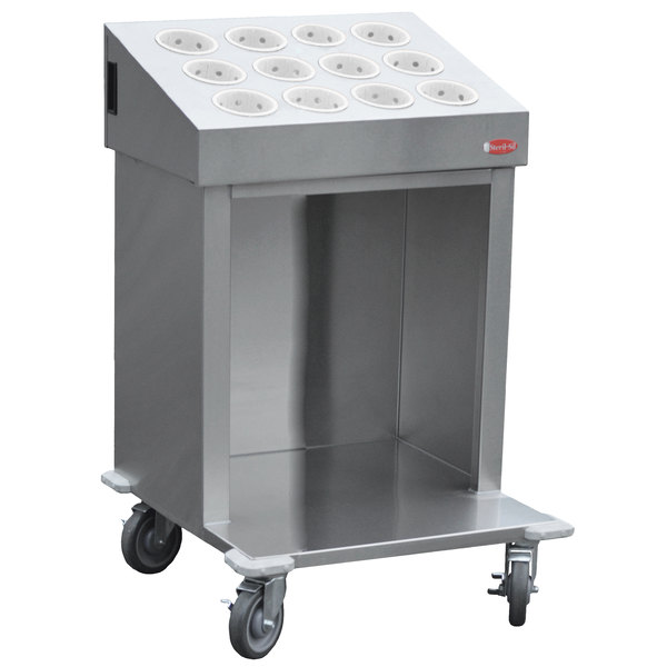 """Steril-Sil CRT24-12RP-WHITE 24"""" Open Base Stainless Steel Silverware / Tray Cart with 12 White Silverware Cylinders Main Image 1"""