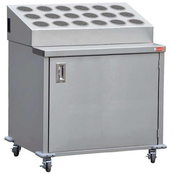 Steril-Sil ENC36-18SS Stainless Steel Silverware Cart with 18 Stainless Steel Silverware Cylinders Main Image 1