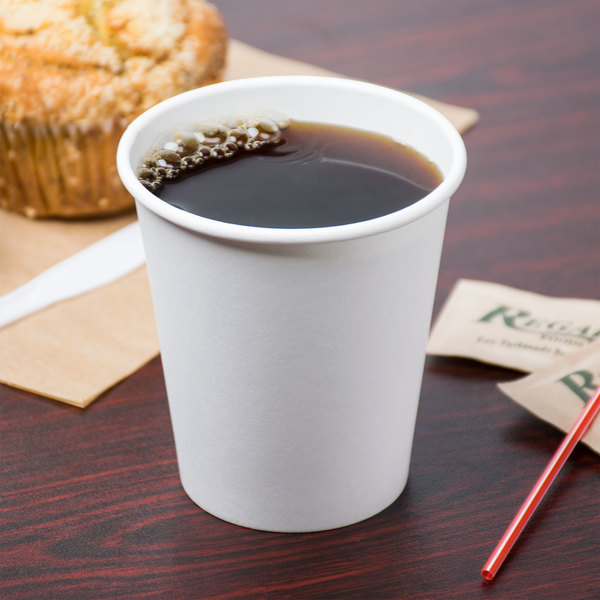 Choice 10 oz. White Poly Paper Hot Cup - 50/Pack