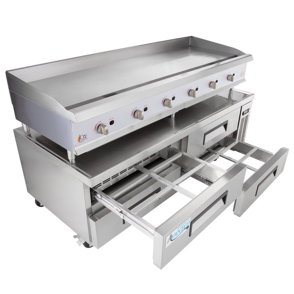 """Cooking Performance Group 72GMRBNL 72"""" Gas Countertop Griddle with Manual Controls and 4 Drawer Refrigerated Chef Base - 180,000 BTU"""