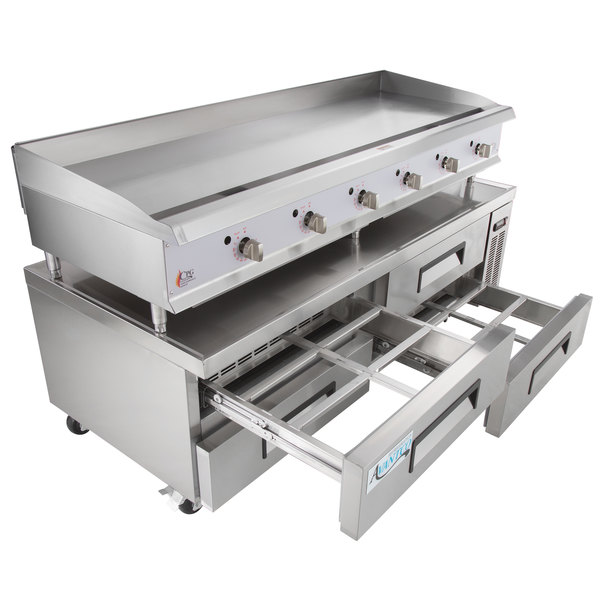 """Cooking Performance Group 72GTRBNL 72"""" Gas Countertop Griddle with Thermostatic Controls and 72"""", 4 Drawer Refrigerated Chef Base - 180,000 BTU Main Image 1"""