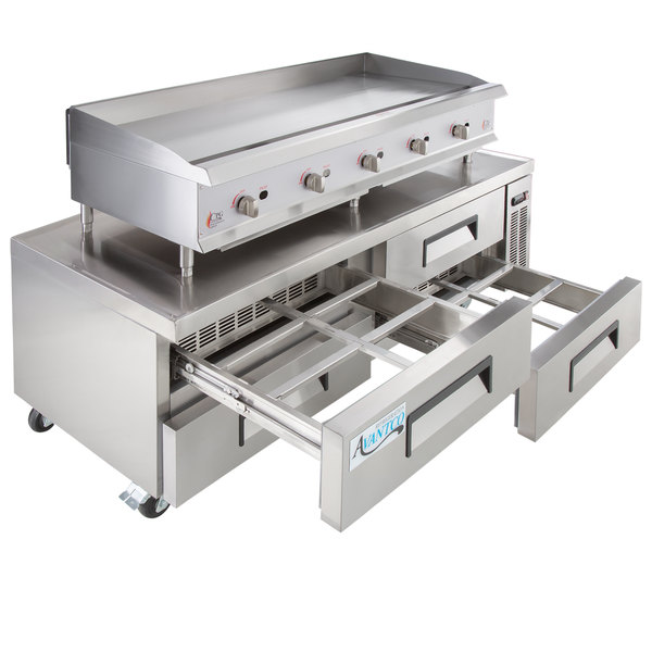 """Cooking Performance Group 60GMRBNL 60"""" Gas Countertop Griddle with Manual Controls and 4 Drawer Refrigerated Chef Base - 150,000 BTU"""