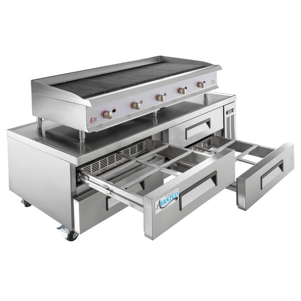 "Cooking Performance Group 60CBLRBNL 60"" Gas Lava Briquette Charbroiler with 4 Drawer Refrigerated Chef Base - 200,000 BTU Main Image 1"