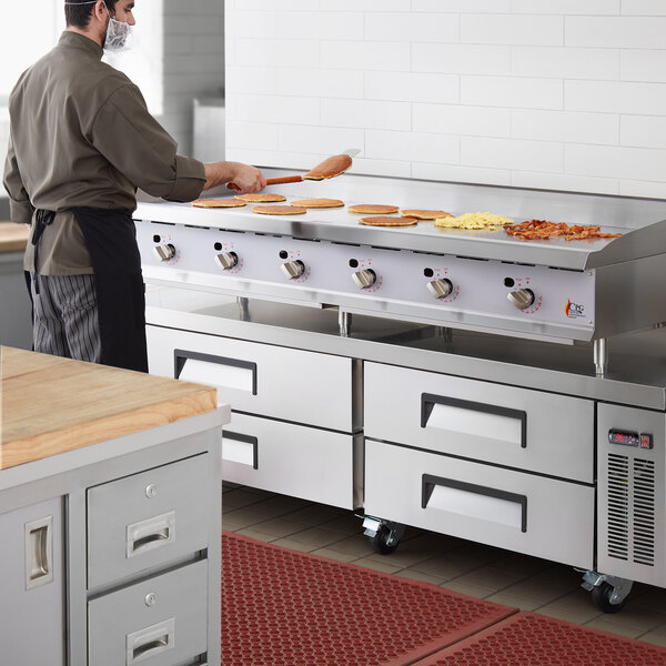 """Cooking Performance Group G72T-NG(CPG) 72"""" Gas Countertop Griddle with Thermostatic Controls - 180,000 BTU Main Image 4"""