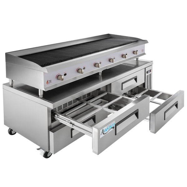"""Cooking Performance Group 72CBRRBNL 72"""" Gas Radiant Charbroiler with 4 Drawer Refrigerated Chef Base - 240,000 BTU Main Image 1"""