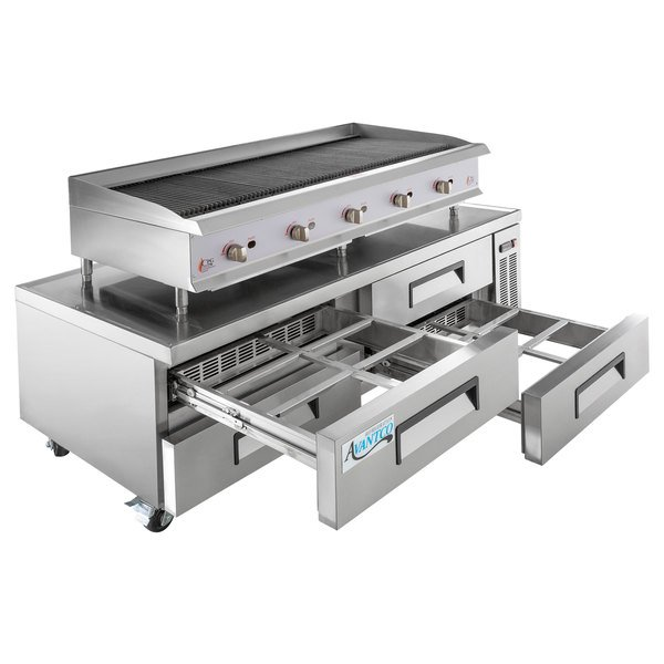 Cooking Performance Group 60CBRRBNL 60 inch Gas Radiant Charbroiler with 4 Drawer Refrigerated Chef Base - 200,000 BTU
