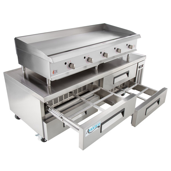 Cooking Performance Group 60GTRBNL 60 inch Gas Countertop Griddle with Thermostatic Controls and 4 Drawer Refrigerated Chef Base - 150,000 BTU