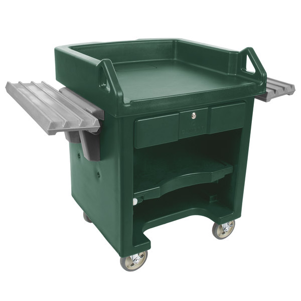 Cambro VCSWR519 Green Versa Cart with Dual Tray Rails and Standard Casters Main Image 1